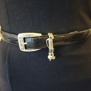Brighton CrocTextured Belt With Golf Charms Small